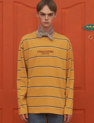 [UNALLOYED] STRIPE LONG SLEEVE T SHIRT /  YELLOW