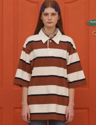 [UNALLOYED] STRIPE PK T SHIRT / BROWN