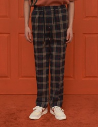[UNALLOYED] 18SS CHECK BANDING PANTS / NAVY