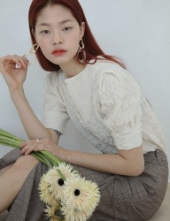 [SOFT SEOUL] smocking ivory blouse