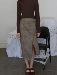 [SOFT SEOUL] soft shirring lace up skirt [BROWN CHECK]