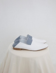[SOFT SEOUL] open  leather slipper [baby blue / white]