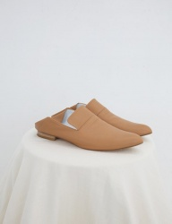 [SOFT SEOUL] open  leather slipper [Caramel]