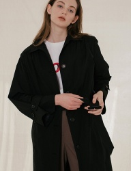 [DIAGONAL] SHIRRING SINGLE TRENCH COAT