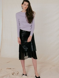 [DIAGONAL] SLIT PLEATS SKIRT