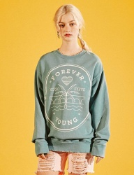 [EYEYE] FOREVER YOUNG STAMP WASHING SWEATSHIRT_GREEN [EEOG1WSR06W]