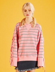[EYEYE] STRIPE RIBBON LACE UP SWEATSHIRT_PINK [EEOG1RLR02W]