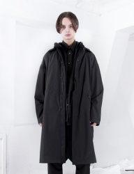 [FROMMARK] OVERSIZED TECH 3L MAC COAT - BLACK