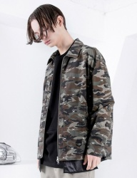 [FROMMARK] OVERSIZE EMBROIDERY ZIP DETAIL JACKET -CAMO