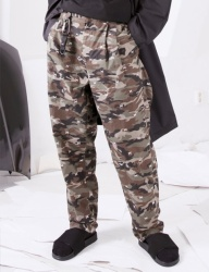 [FROMMARK] EMBROIDERY TWO TUCK WIDE PANTS - CAMO