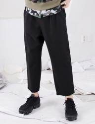 [FROMMARK] RELAXED WOOL CROP TROUSER - BLACK