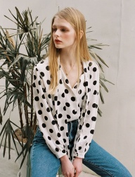 [NOMINATE] BIG DOTS TIE BLOUSE [WHITE]