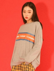 [UMM] [UNSEX] TAPE OVER FIT SWEAT SHIRTS _ GREY