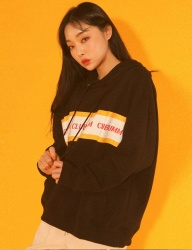 [UMM] [UNSEX] TAPE OVER FIT HOODY _ BLACK