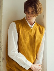 [KNITTED] SOFTCOTTON WAFFLE V-NECK VEST  4 COLOR