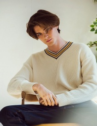 [KNITTED] SOFTCOTTON WAFFLE STRIPE KNIT  2 COLOR