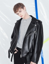 [VOIEBIT] V622 V-RING LEATHER JACKET (BLACK)