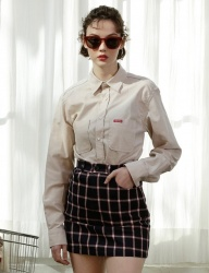 [SCULPTOR] WAFFLE CHECK SKIRT [WHITE,NAVY]