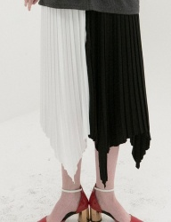 [B ABLE TWO] Color Effects Pleats Skirt (BLACK)