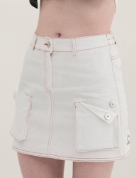 [B ABLE TWO] Signature Denim Cargo Skirt (WHITE)