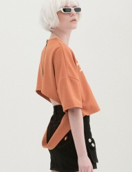 [B ABLE TWO] Open Back Half T-shirts (ORANGE)