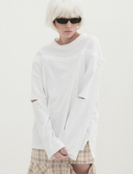 [B ABLE TWO] Fake Off Shoulder T-shirts (WHITE)