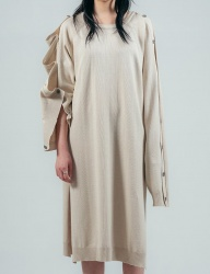 [ulkin] UL:KIN COLLECTION LABEL_BUTTON OPENING SLEEVE KNIT DRESS_IVORY