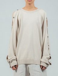 [ulkin] UL:KIN COLLECTION LABEL_BUTTON OPENING SLEEVE KNIT PULLOVER_IVORY