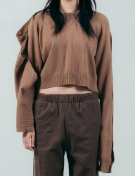 [ulkin] UL:KIN COLLECTION LABEL_BUTTON OPENING SLEEVE KNIT CROP TOP_BROWN