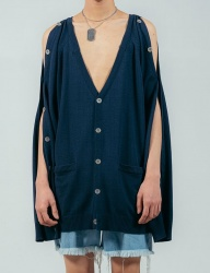 [ulkin] UL:KIN COLLECTION LABEL_BUTTON OPENING SLEEVE KNIT CARDIGAN_NAVY
