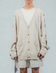 [ulkin] UL:KIN COLLECTION LABEL_BUTTON OPENING SLEEVE KNIT CARDIGAN_IVORY