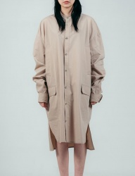 [ulkin] UL:KIN COLLECTION LABEL_STAND COLLAR SHIRT COAT_BEIGE