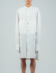 [ulkin] UL:KIN COLLECTION LABEL_STAND COLLAR SHIRT COAT_WHITE