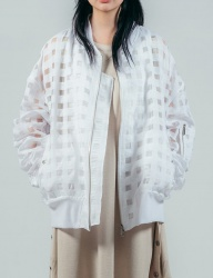 [ulkin] UL:KIN COLLECTION LABEL_SHEERING CHECK BLOUSON_WHITE