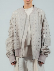 [ulkin] UL:KIN COLLECTION LABEL_SHEERING CHECK BLOUSON_BEIGE