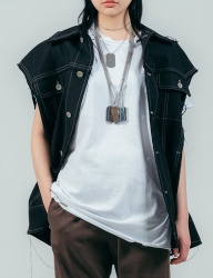 [ulkin] UL:KIN COLLECTION LABEL_OVERSIZED LINEN VEST_BLACK