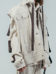 [ulkin] UL:KIN COLLECTION LABEL_OVERSIZED LINEN VEST_BEIGE