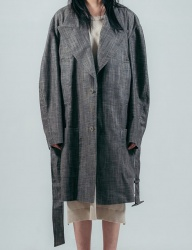 [ulkin] X COLLECTION LABEL_LOW WAISTED BELT LINEN COAT_BROWN