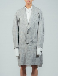 [ulkin] UL:KIN COLLECTION LABEL_LOW WAISTED BELT LINEN COAT_GREY