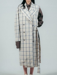 [ulkin] UL:KIN COLLECTION LABEL_SIDE OPEN CHECK LINEN COAT_BLUE CHECK