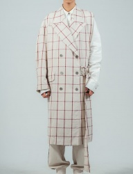 [ulkin] UL:KIN COLLECTION LABEL_SIDE OPEN CHECK LINEN COAT_RED CHECK