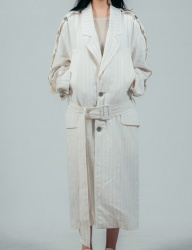 [ulkin] UL:KIN COLLECTION LABEL_BUTTON OPENING SLEEVE LINEN COAT_WHITE+BEIGE