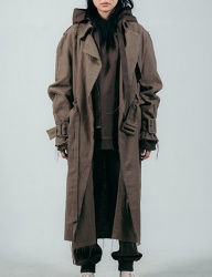[ulkin] UL:KIN COLLECTION LABEL_RAW EDGE LINEN TRENCH COAT_KHAKI