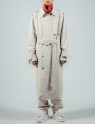 [ulkin] UL:KIN COLLECTION LABEL_RAW EDGE LINEN TRENCH COAT_BEIGE