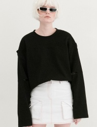 [B ABLE TWO] Fake Off Shoulder T-shirts (BLACK)