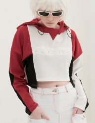 [B ABLE TWO] Color Effects Crop Hoody (RED)