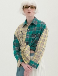 [B ABLE TWO] Check Mixed Shirts (GREEN)