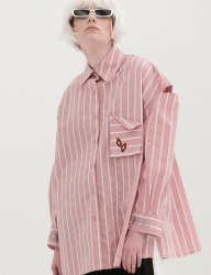 [B ABLE TWO] Stripe Shoulder Open Shirts (PINK)