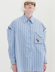 [B ABLE TWO] Stripe Shoulder Open Shirts (BLUE)