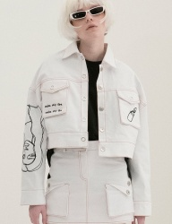 [B ABLE TWO] Scribble Crop Trucker Jacket (WHITE)